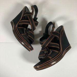 Fendi heels wedges Fabric Black Brown stitches